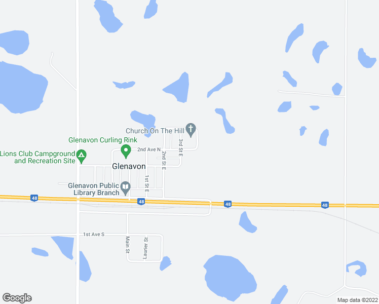 map of restaurants, bars, coffee shops, grocery stores, and more near Saskatchewan 48 in Glenavon