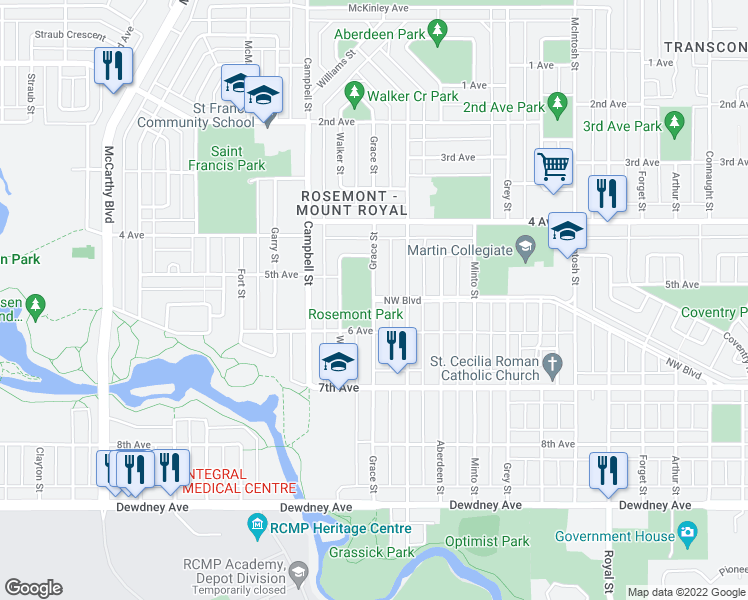 map of restaurants, bars, coffee shops, grocery stores, and more near Grace Street in Regina
