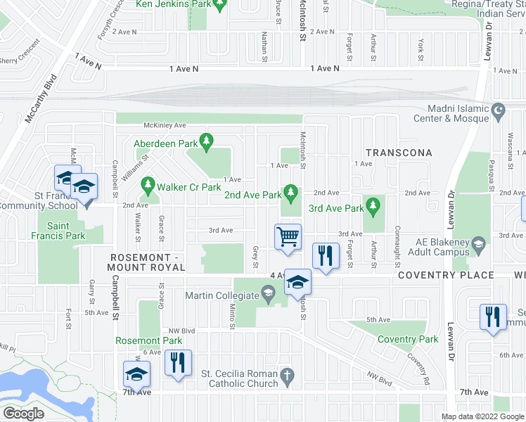 map of restaurants, bars, coffee shops, grocery stores, and more near 801 Grey Street in Regina