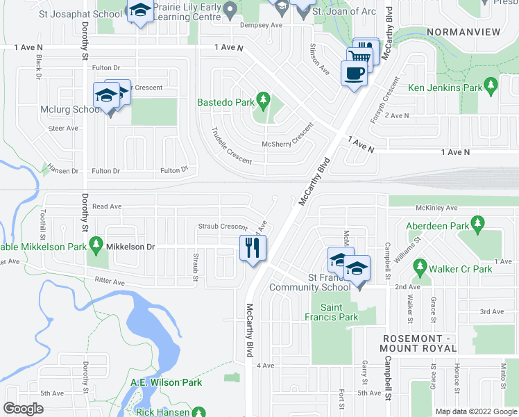map of restaurants, bars, coffee shops, grocery stores, and more near 48 Read Avenue in Regina