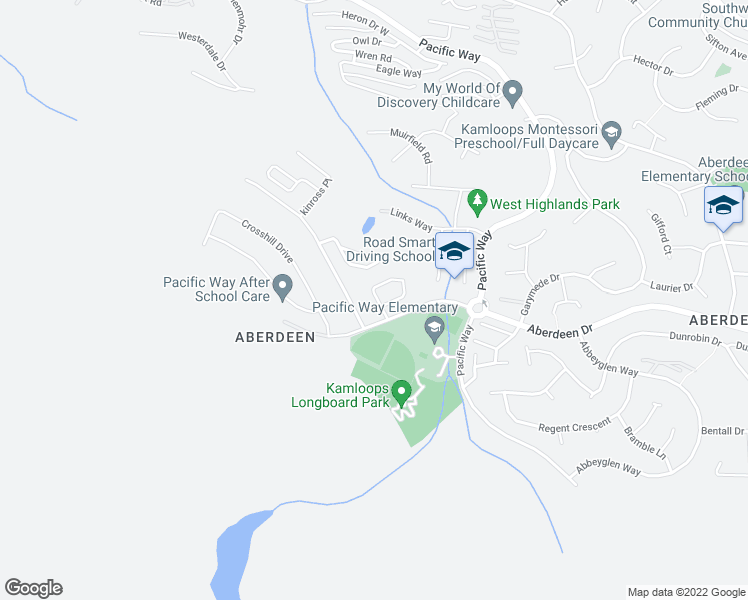 map of restaurants, bars, coffee shops, grocery stores, and more near 1250 Aberdeen Drive in Kamloops
