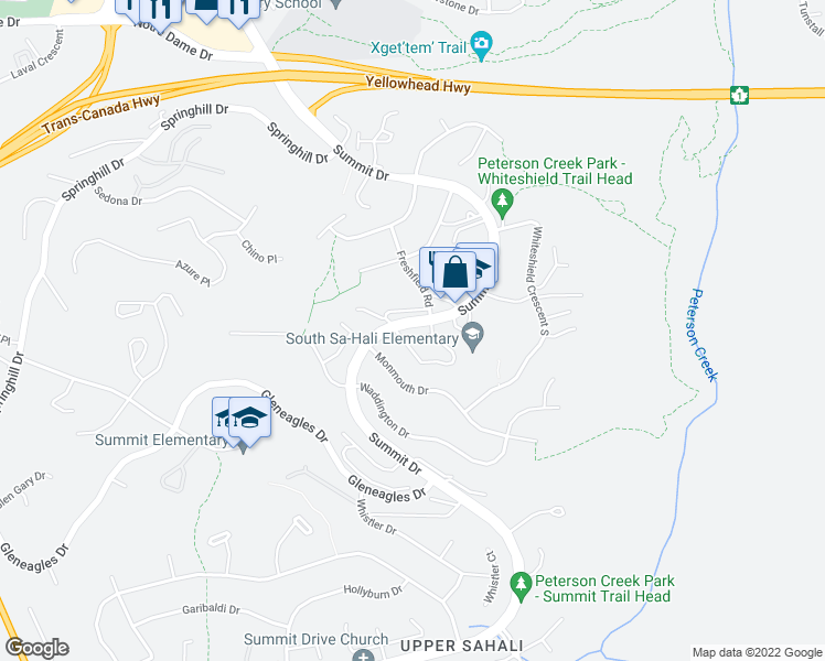 map of restaurants, bars, coffee shops, grocery stores, and more near 1605 Summit Drive in Kamloops