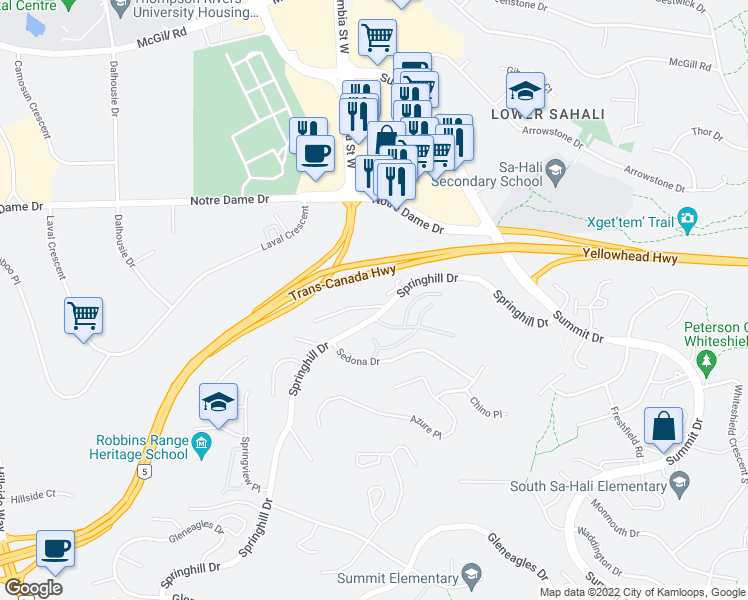 map of restaurants, bars, coffee shops, grocery stores, and more near 1580 Springhill Drive in Kamloops