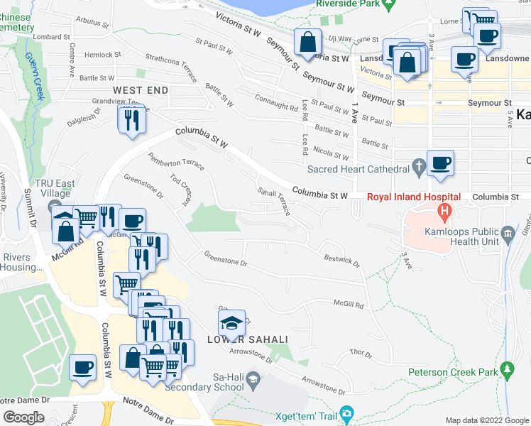 map of restaurants, bars, coffee shops, grocery stores, and more near 250 Pemberton Terrace in Kamloops