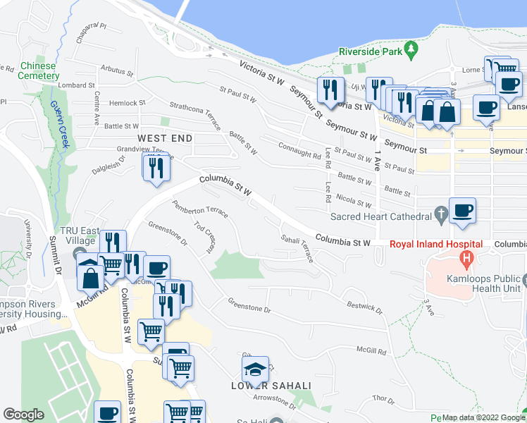 map of restaurants, bars, coffee shops, grocery stores, and more near 712 Sahali Terrace in Kamloops