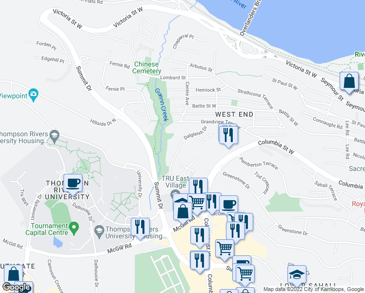 map of restaurants, bars, coffee shops, grocery stores, and more near 555 Dalgleish Drive in Kamloops