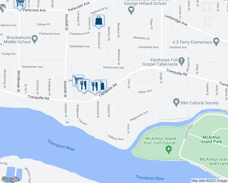 map of restaurants, bars, coffee shops, grocery stores, and more near 1760 Brunner Avenue in Kamloops