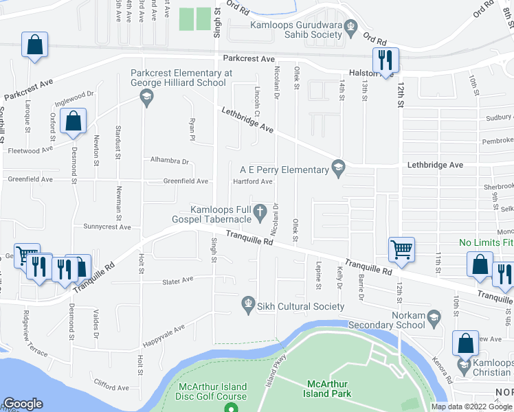map of restaurants, bars, coffee shops, grocery stores, and more near 860 Nicolani Drive in Kamloops