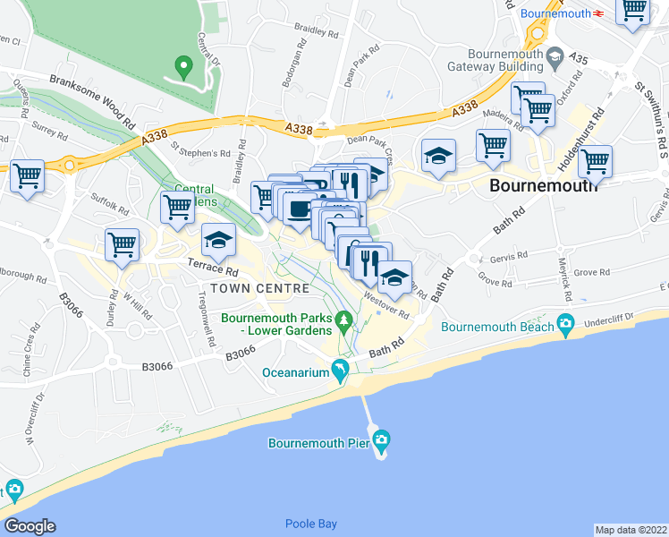 map of restaurants, bars, coffee shops, grocery stores, and more near in Bournemouth