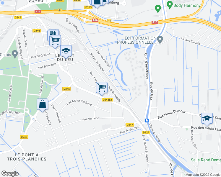 map of restaurants, bars, coffee shops, grocery stores, and more near 483 Rue de Puebla in Calais