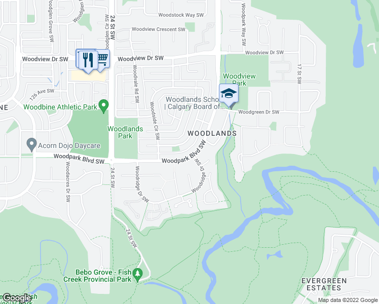 map of restaurants, bars, coffee shops, grocery stores, and more near 655 Woodpark Boulevard Southwest in Calgary