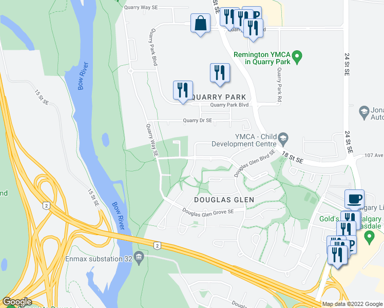 map of restaurants, bars, coffee shops, grocery stores, and more near 138 Douglas Glen Circle Southeast in Calgary