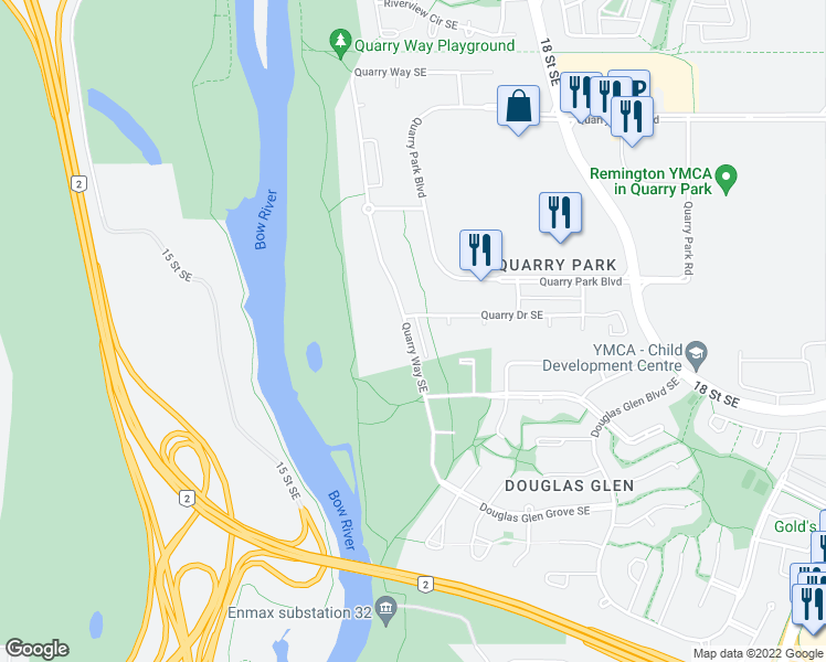 map of restaurants, bars, coffee shops, grocery stores, and more near 436 Quarry Way Southeast in Calgary