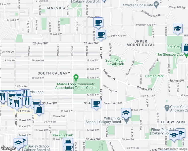 map of restaurants, bars, coffee shops, grocery stores, and more near 1522 30 Avenue Southwest in Calgary