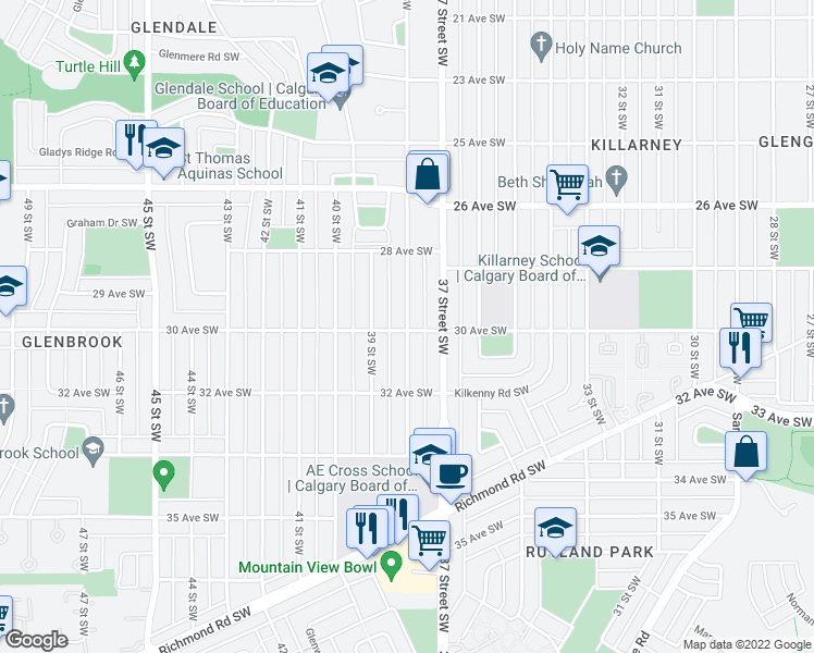 map of restaurants, bars, coffee shops, grocery stores, and more near 2847 38 Street Southwest in Calgary