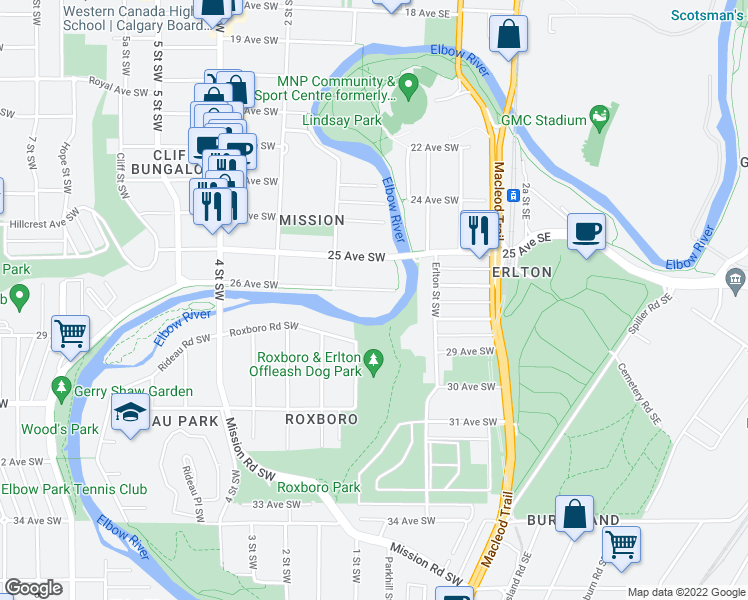 map of restaurants, bars, coffee shops, grocery stores, and more near 105 26 Avenue Southwest in Calgary