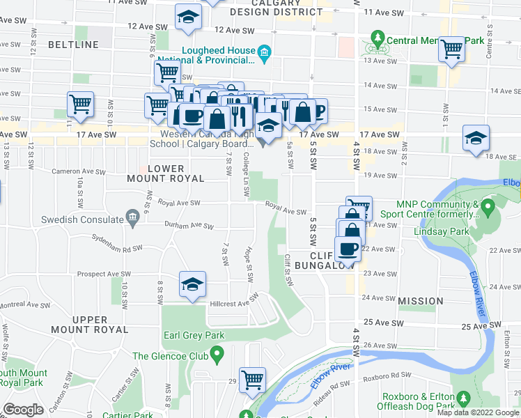 map of restaurants, bars, coffee shops, grocery stores, and more near 2010 Hope Street Southwest in Calgary