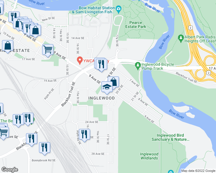 map of restaurants, bars, coffee shops, grocery stores, and more near in Calgary