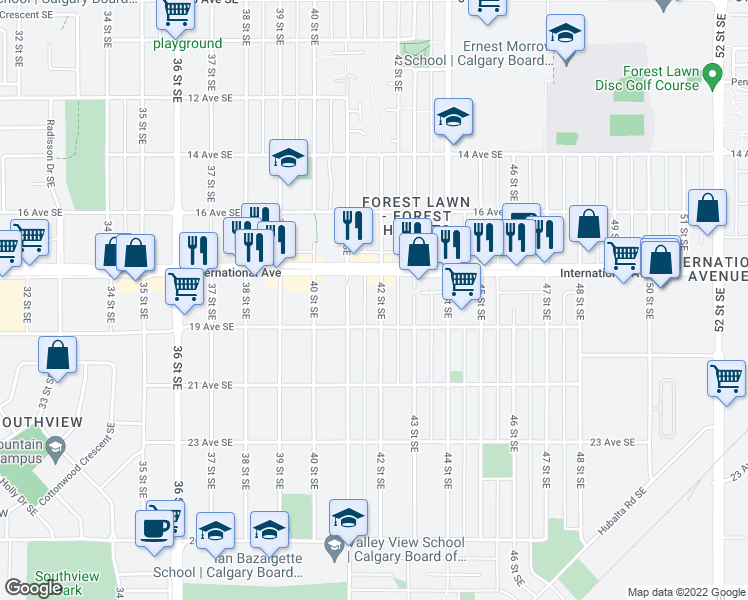 map of restaurants, bars, coffee shops, grocery stores, and more near 1823 42 Street Southeast in Calgary