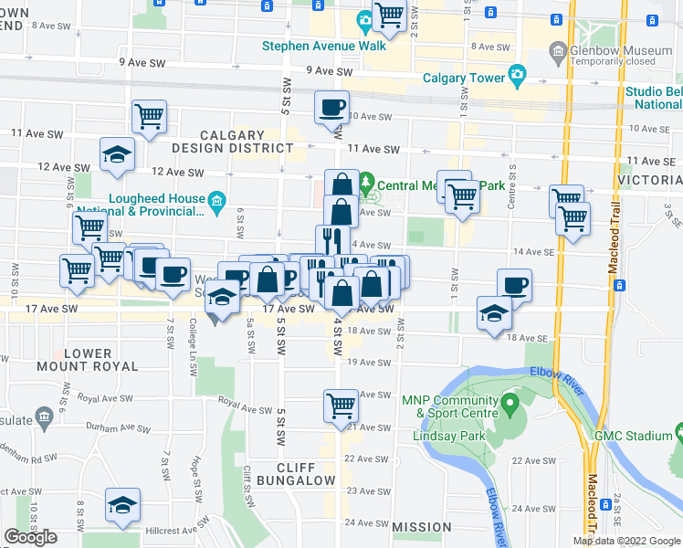 map of restaurants, bars, coffee shops, grocery stores, and more near 342 15 Avenue Southwest in Calgary