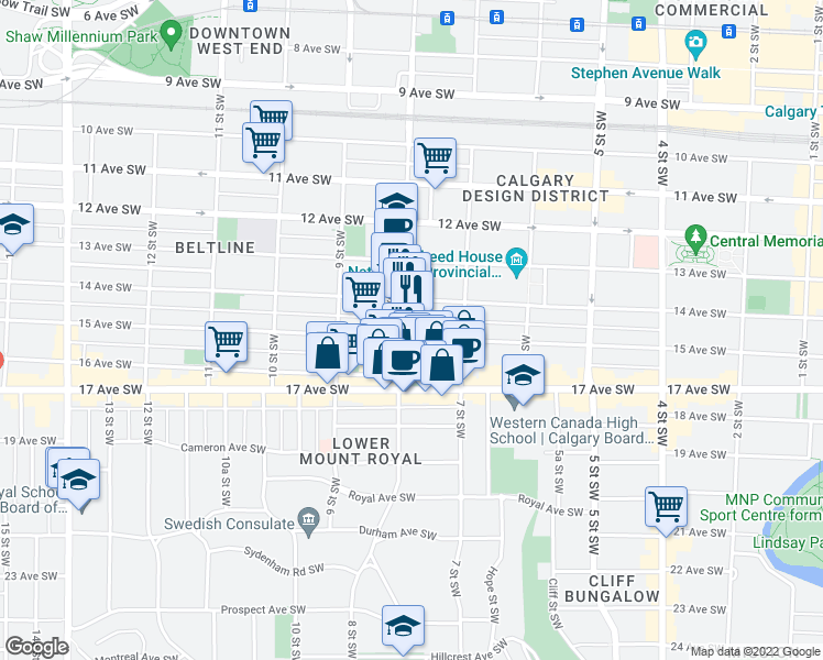 map of restaurants, bars, coffee shops, grocery stores, and more near 836 15 Avenue Southwest in Calgary