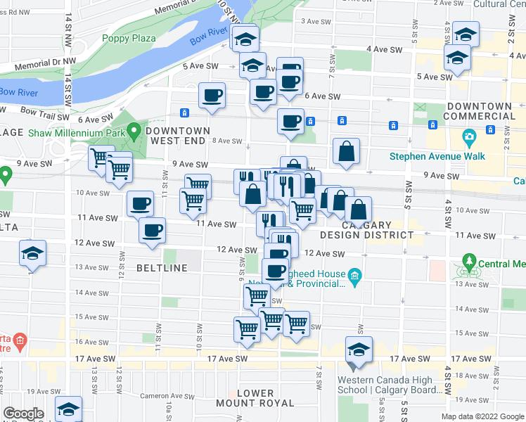 map of restaurants, bars, coffee shops, grocery stores, and more near 919 10 Avenue Southwest in Calgary
