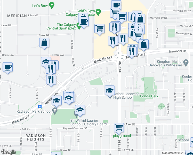 map of restaurants, bars, coffee shops, grocery stores, and more near 44 Radcliffe Crescent Southeast in Calgary
