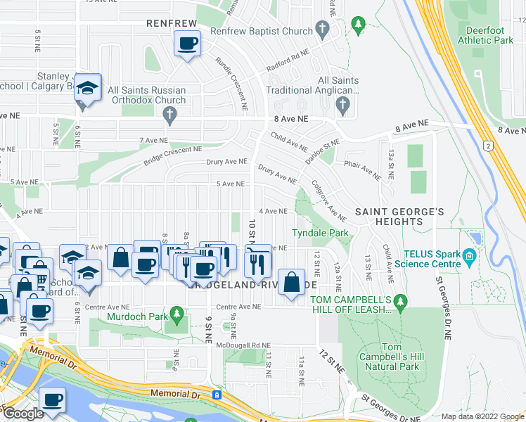 map of restaurants, bars, coffee shops, grocery stores, and more near 1118 4 Ave NE in Calgary
