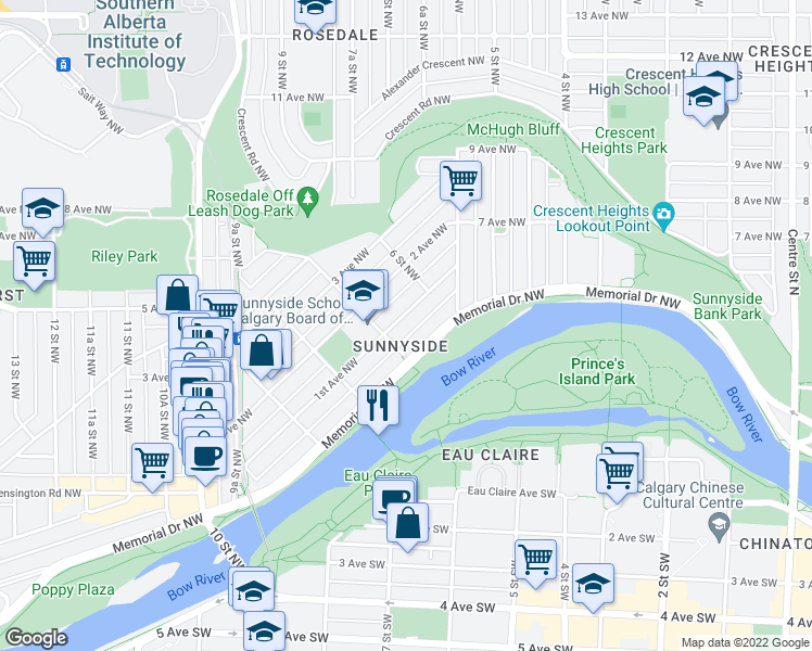 map of restaurants, bars, coffee shops, grocery stores, and more near 727 1st Avenue Northwest in Calgary
