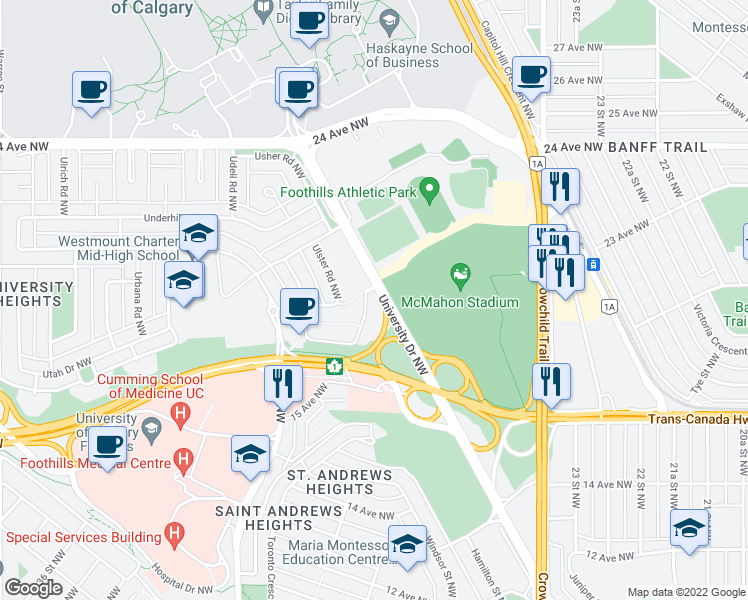 map of restaurants, bars, coffee shops, grocery stores, and more near 1919 University Drive Northwest in Calgary