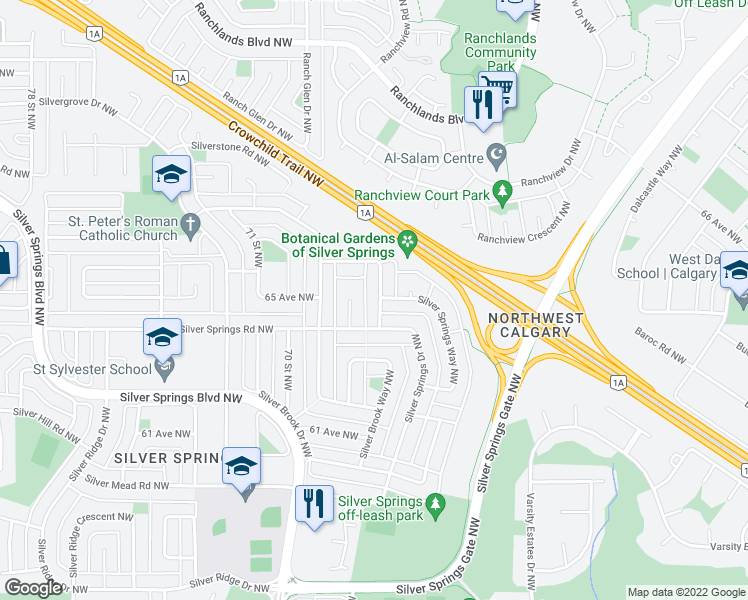 map of restaurants, bars, coffee shops, grocery stores, and more near 6519 Silver Springs Crescent Northwest in Calgary