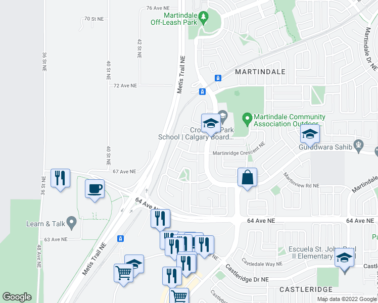 map of restaurants, bars, coffee shops, grocery stores, and more near 137 Martinpark Way Northeast in Calgary