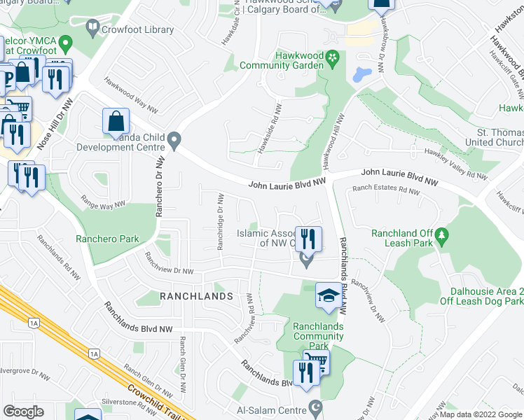 map of restaurants, bars, coffee shops, grocery stores, and more near 48 Ranchridge Drive Northwest in Calgary