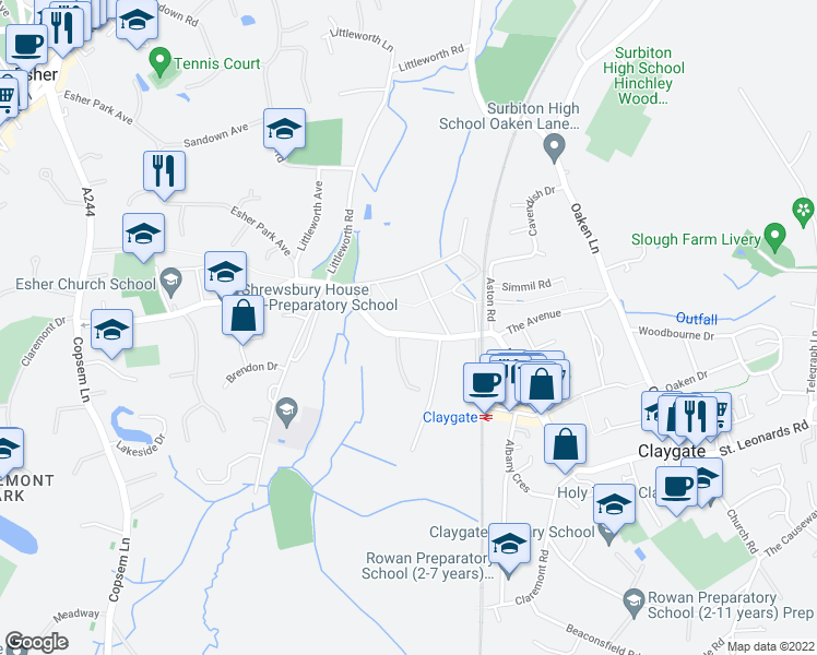 map of restaurants, bars, coffee shops, grocery stores, and more near Hare Lane in Claygate