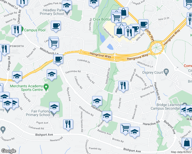 map of restaurants, bars, coffee shops, grocery stores, and more near Gatcombe Road in City of Bristol