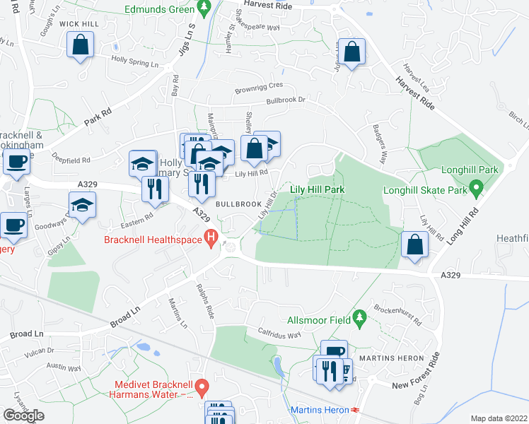 map of restaurants, bars, coffee shops, grocery stores, and more near in Bracknell