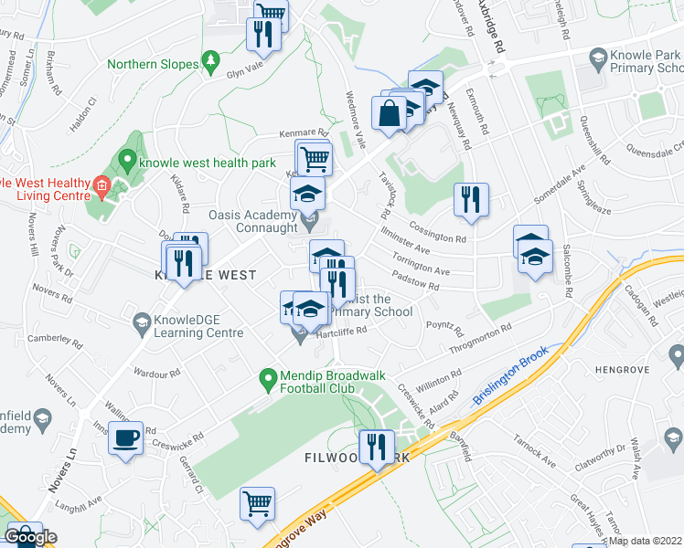 map of restaurants, bars, coffee shops, grocery stores, and more near Marwood Road in City of Bristol