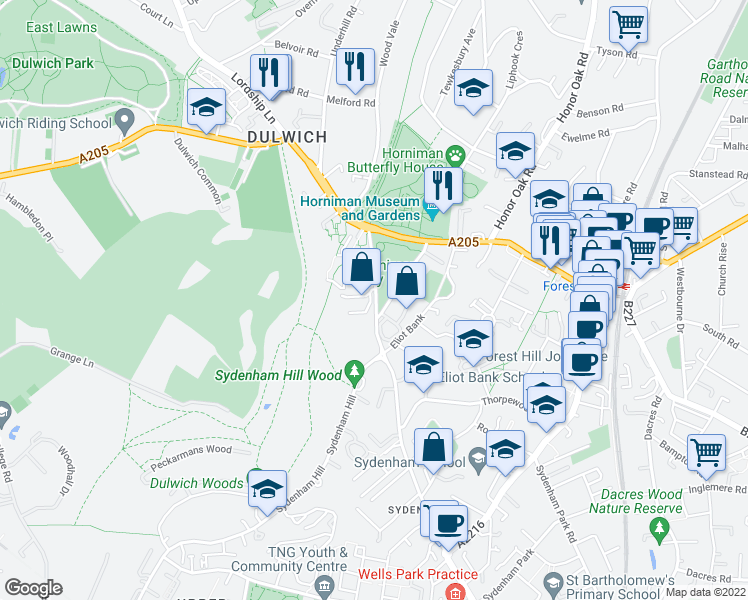 map of restaurants, bars, coffee shops, grocery stores, and more near Sydenham Hill in Greater London