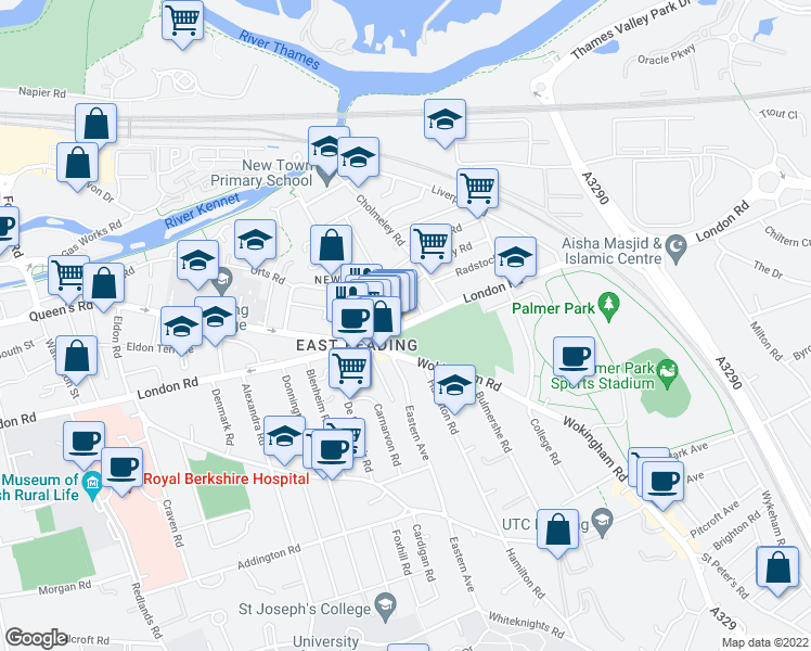 map of restaurants, bars, coffee shops, grocery stores, and more near London Road in Reading