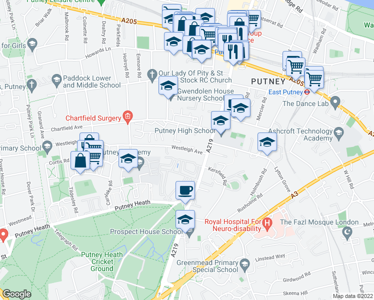 map of restaurants, bars, coffee shops, grocery stores, and more near in London