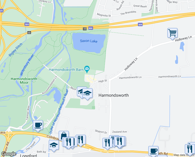 map of restaurants, bars, coffee shops, grocery stores, and more near in Harmondsworth