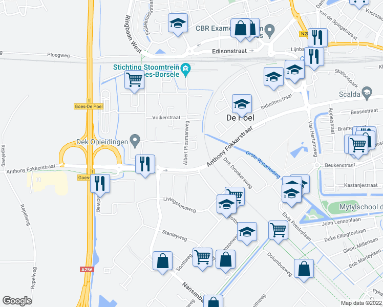 map of restaurants, bars, coffee shops, grocery stores, and more near 3 Albert Plesmanweg in Goes