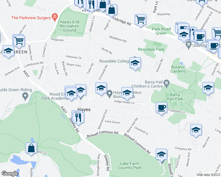 map of restaurants, bars, coffee shops, grocery stores, and more near in Greater London