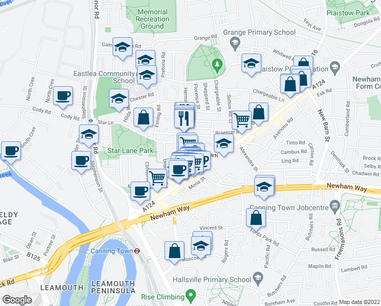 map of restaurants, bars, coffee shops, grocery stores, and more near Cliff Walk in Greater London