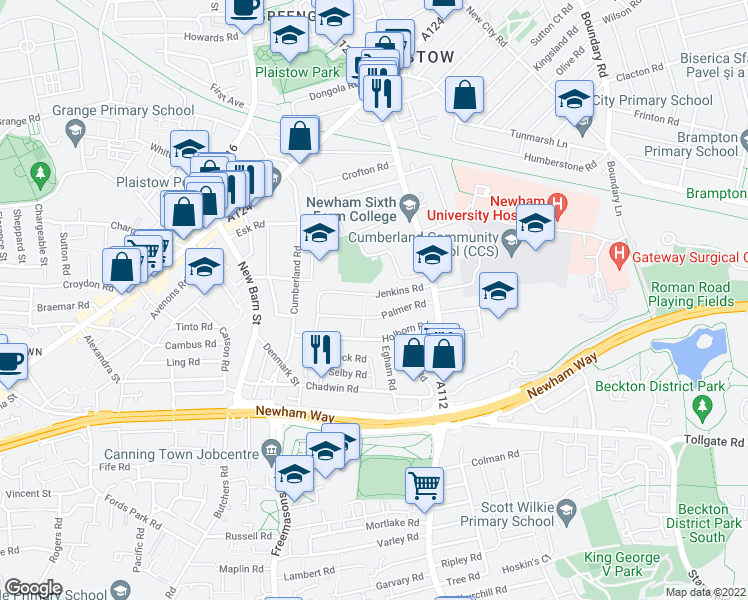 map of restaurants, bars, coffee shops, grocery stores, and more near Jenkins Road in Greater London