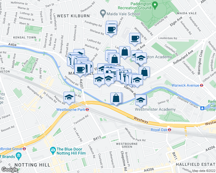map of restaurants, bars, coffee shops, grocery stores, and more near Windsor Gardens in Greater London