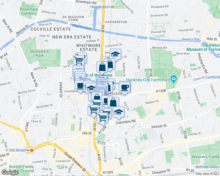 map of restaurants, bars, coffee shops, grocery stores, and more near Geffrye Street in Greater London