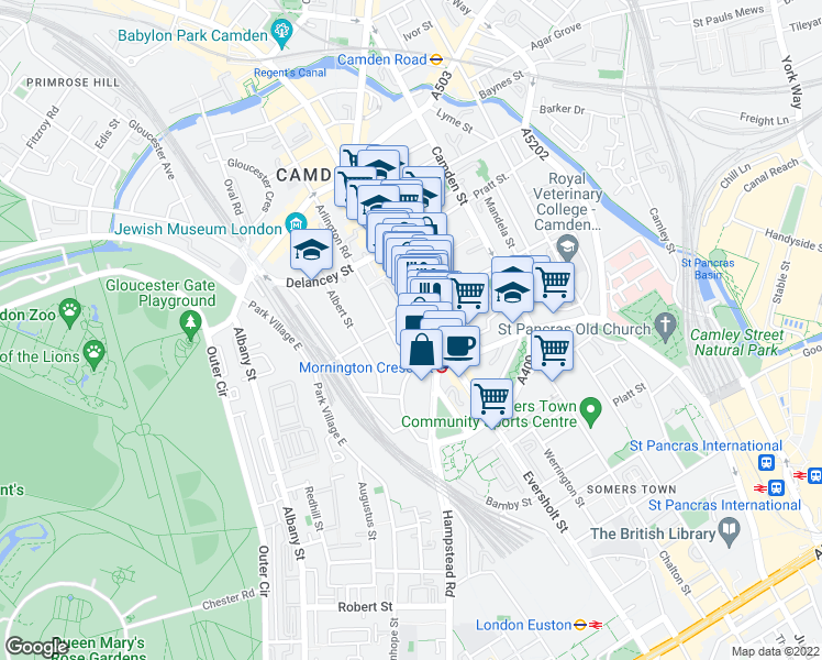 map of restaurants, bars, coffee shops, grocery stores, and more near 2 Camden High Street in London