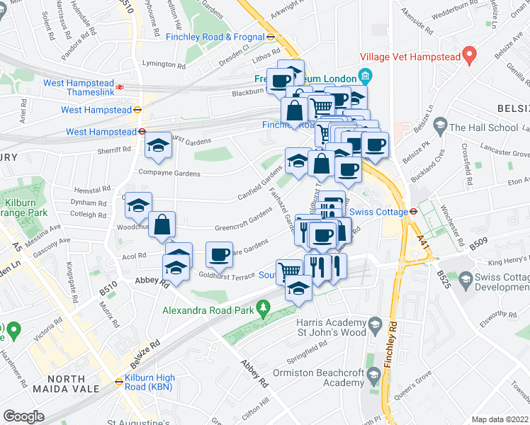 map of restaurants, bars, coffee shops, grocery stores, and more near Greencroft Gardens in Greater London