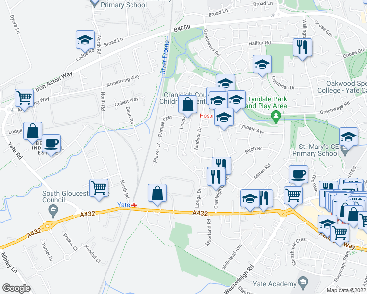 map of restaurants, bars, coffee shops, grocery stores, and more near Longs Drive in Yate